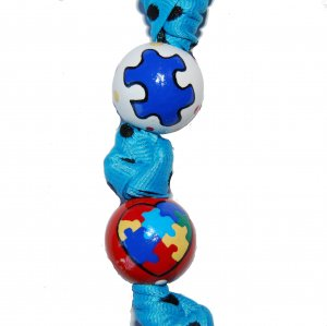 *New*- Hand-painted Autism Awareness Heart Grosgrain Ribbon Keychain