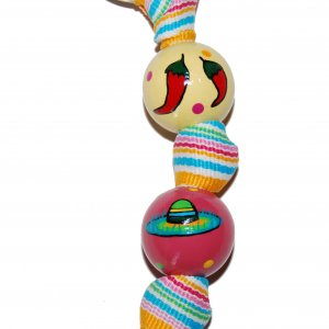 Fiesta Party Hand Painted Keychain (striped ribbon)