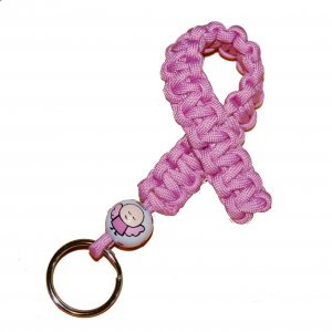 Hand-Painted Pink Angel Awareness Paracord Keychain