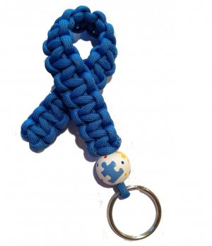 Hand-Painted Autism Awareness Puzzle Paracord Keychain