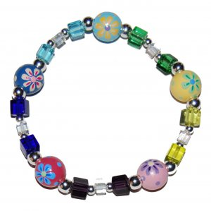 Handpainted Flower  Adult Stretch Bracelet