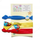 Handpainted Autism Awareness Foldover Elastic FOE Hair Tie Bracelets - Set of 3