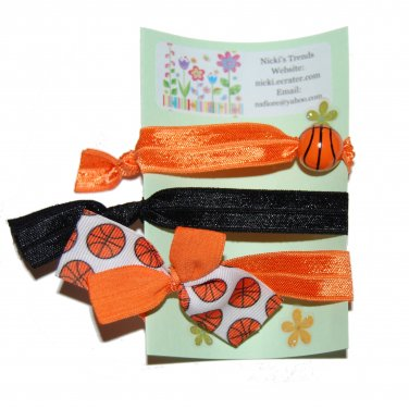 Handpainted Basketball Foldover Elastic FOE Hair Tie Bracelets - Set of 3