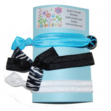 Handpainted Blue Zebra Print Foldover Elastic FOE Hair Tie Bracelets - Set of 3