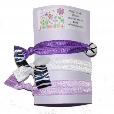Handpainted Purple Zebra Print Foldover Elastic FOE Hair Tie Bracelets - Set of 3