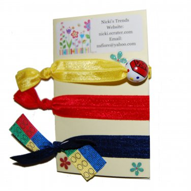 Handpainted Building Blocks Foldover Elastic FOE Hair Tie Bracelets - Set of 3