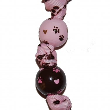 Pink Puppy Dog Paws Handpainted Keychain