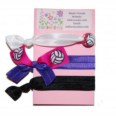 Handpainted Volleyball Foldover Elastic FOE Hair Tie Bracelets - Set of 3