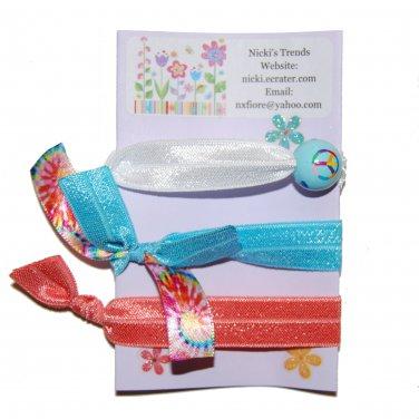 Handpainted Groovy Peace Sign Foldover Elastic FOE Hair Tie Bracelets - Set of 3
