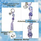 "Handpainted ""Memories Matter"" Alzheimer Awareness Forget Me Not Keychain"