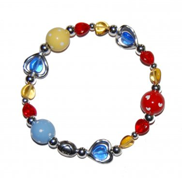 Hand-painted Autism Awareness Hearts Adult Stretch Bracelet
