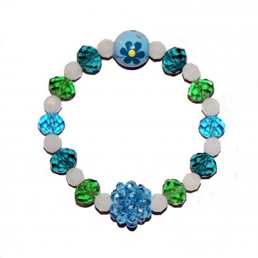 "Handpainted Flowers ""Sparkle"" (child) Glow Stretch Bracelet"