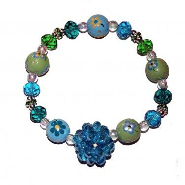 "Handpainted Flowers ""Sparkle"" Adult Stretch Bracelet"