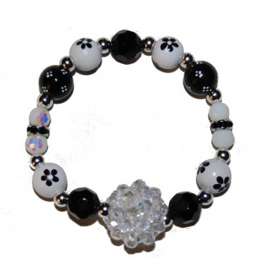 "Handpainted Flowers ""Clear Sparkle"" Black & White Adult Stretch Bracelet"