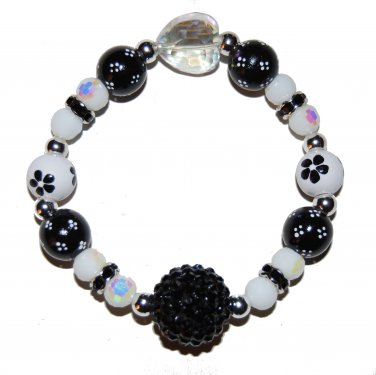 "Handpainted Flowers ""Midnight Sparkle"" Black & White Adult Stretch Bracelet"