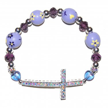 Hand-Painted Sideways Cross Pancreatic Cancer Awareness Stretch Bracelet