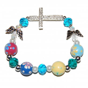 Hand-Painted Sideways Cross Pretty Flowers Stretch Bracelet