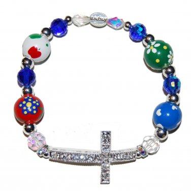 Hand-Painted Sideways Cross Teacher Appreciation Stretch Bracelet