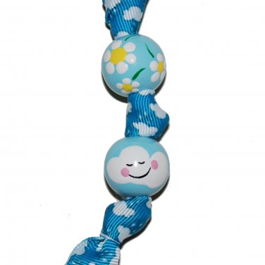 Handpainted Smiling Clouds & Flowers Blue Teacher Keychain