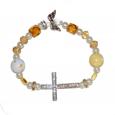 Hand-Painted Sideways Cross Childhood Cancer Awareness Stretch Bracelet