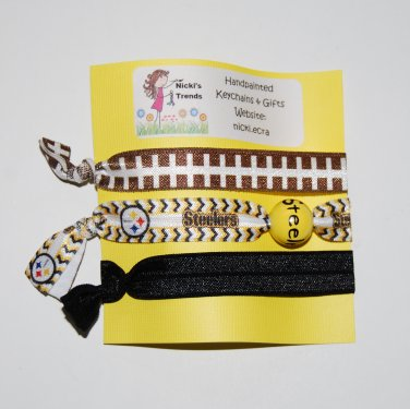 Handpainted Team Foldover Elastic FOE Hair Tie Bracelets - Set of 3
