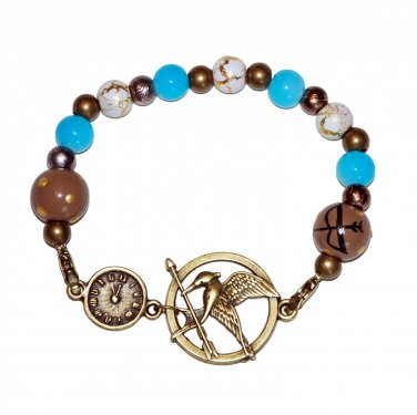 Mockingjay Clock Arena Games Bronze Stretch Bracelet