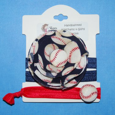 Baseball Handmade Flower Foe Elastic Headband & Matching Hair Tie