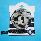 Soccer Handmade Flower Foe Elastic Headband & Matching Hair Tie