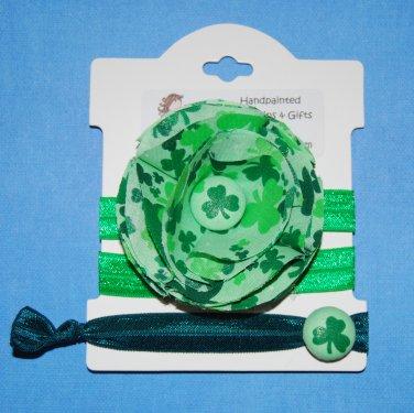 St. Patrick's Day Irish Handmade Flower Foe Elastic Headband & Matching Hair Tie