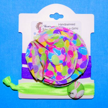 Easter Jelly Bean Handmade Flower Foe Elastic Headband & Matching Hair Tie