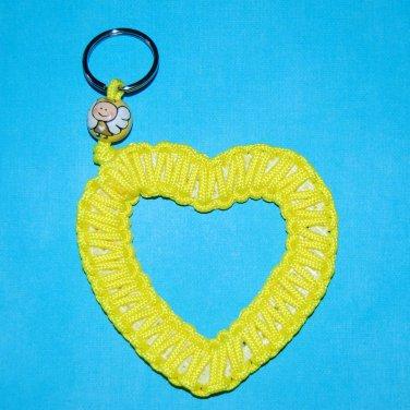 Handpainted Angel Pediatric Cancer Awareness Ribbon Heart Paracord Keychain