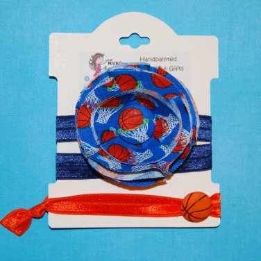 Basketball Sport Handmade Flower Foe Elastic Headband & Matching Hair Tie