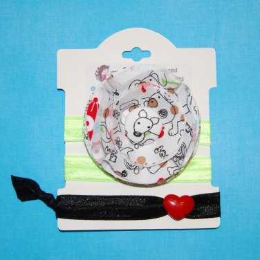 Doodle Puppy Dog Handmade Flower Foe Elastic Headband & Matching Hair Tie