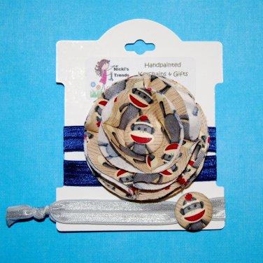 Sock Monkey Handmade Flower Foe Elastic Headband & Matching Hair Tie