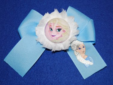 Handpainted Elsa Character grosgrain Ribbon Large Bow Hair Clip