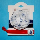 Nautical Anchor Handmade Flower Foe Elastic Headband & Matching Hair Tie