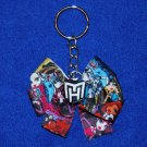 Monster High Inspired Grosgrain Ribbon Fabric Button Bow Keychain