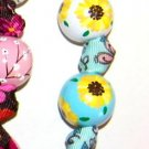 Handpainted Sunflowers Blue & Yellow Flower  Grosgrain Ribbon Keychain