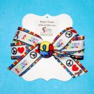 Autism Puzzle Piece Peace Love Grosgrain Ribbon Fabric Button Hair Bow Clip