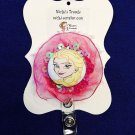 Elsa Inspired Retractable ID Badge Card Holder Pull Reel Belt Clip Pink Lanyard