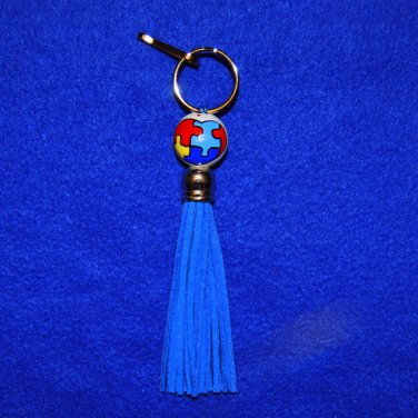 Handpainted Autism Awareness Tassel Clip