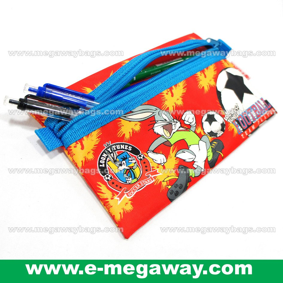 Pigna Loony Tunes Soccer Pencil Case Pouch School Pen Kids Children Bags MegawayBags #CC- 0604