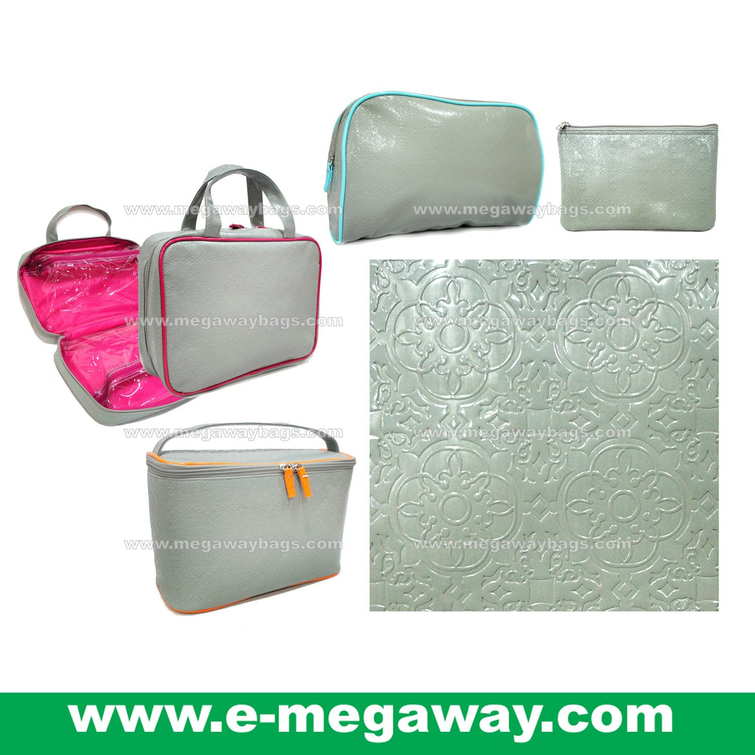 Designers Unique Emboss PVC Beauty Cosmetic Make Up Bags Pouch Purse MegawayBags #CC-0043C