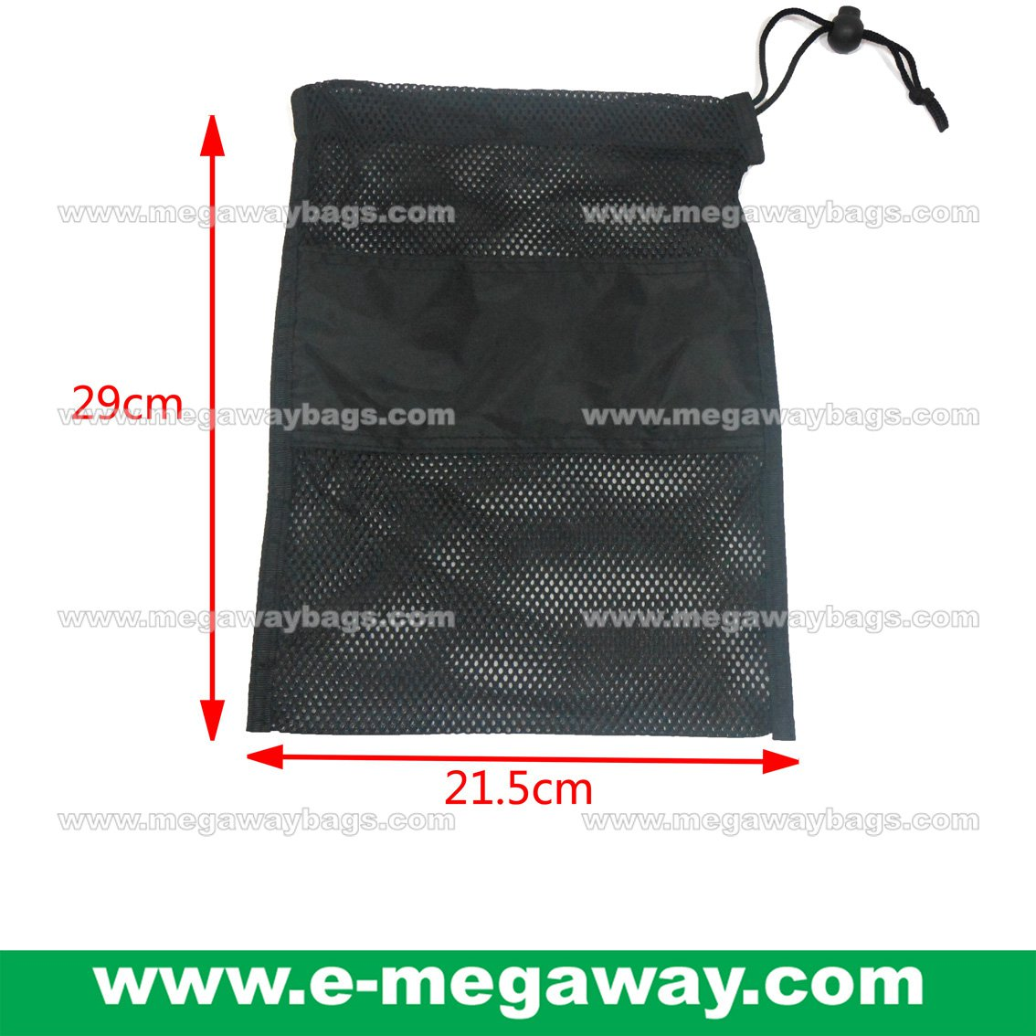 Black Mesh Bag Draw Sting Pouch Stopper Garment travel Packaging Pack MegawayBags #CC-0939A1