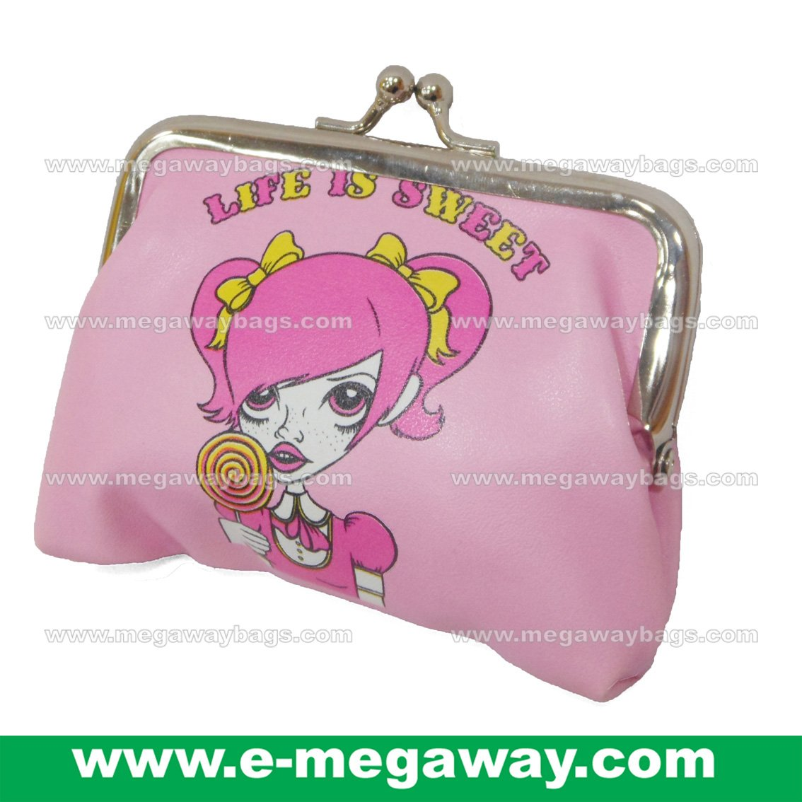 Life is Sweet Clip Purse Bags Wallets Character Print Cartoon Girls MegawayBags #CC-1056
