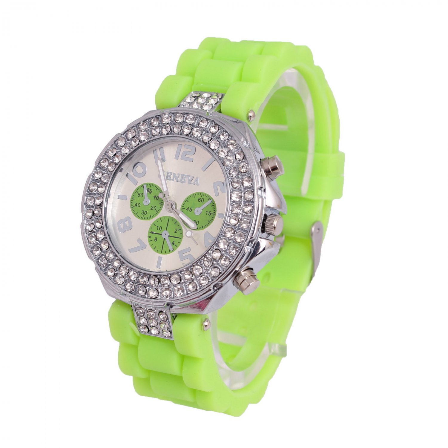 GENEVA WATCH GREEN W/CRYSTAL RUBBER SILICONE BAND