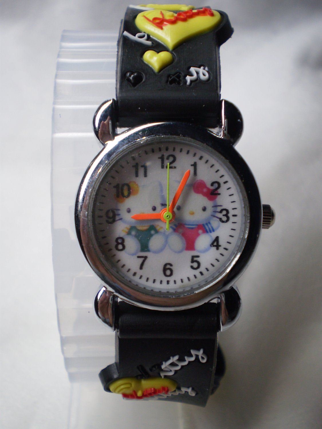 Hello Kitty 3 dimensional wrist children watch with black rubber band