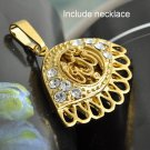 Fashion 9k Real Gold Filled Allah Islam Pendant Necklace ! Gift Jewelry & Love