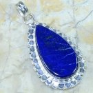 Fashion silver necklace & pendant set Lapis Lazuli gemstone ! Gift & Jewelry