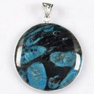 Fashion blue coral fossil stone pendant & silver 925 necklace ! Gift & Jewelry